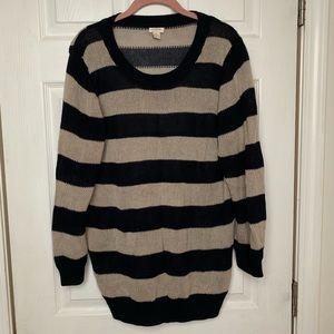 J crew XL navy creme stripped sweater